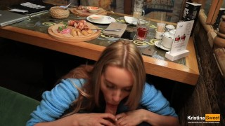 Public Blowjob Under The Table In The Restaurant. Cum in Mouth.